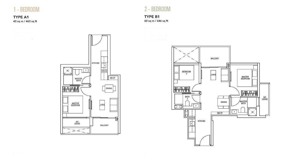 Sky Everton - 1 & 2 BR Floor Plan