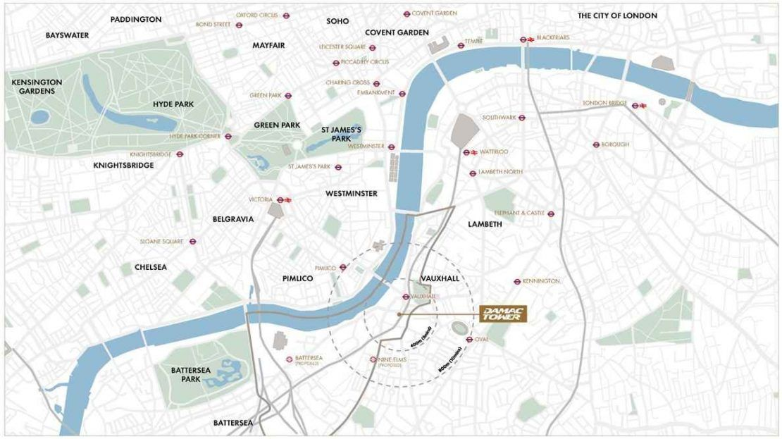 Damac Tower - Location Map