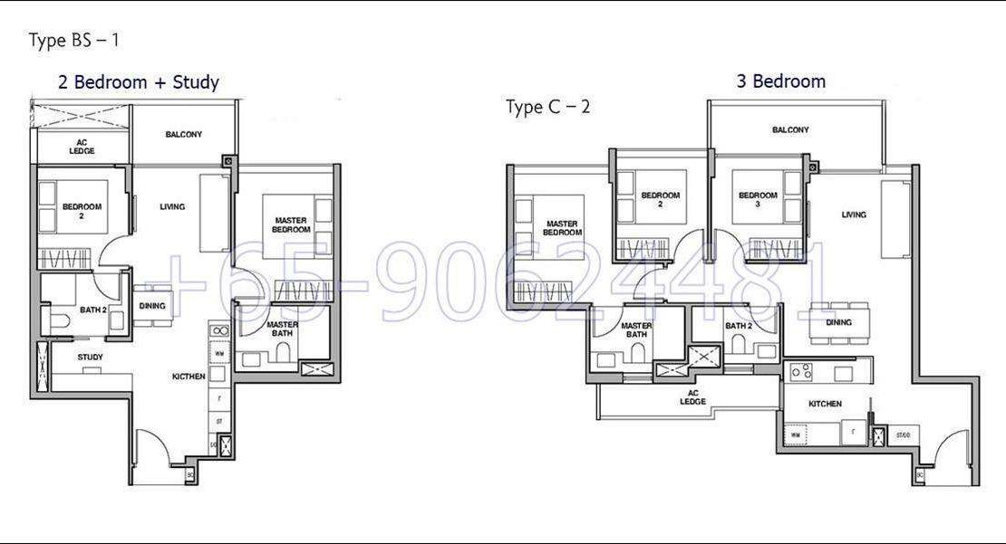 RoyalGreen- 2+S and 3 Bedroom Floor Plan