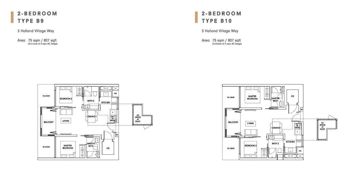 One Holland Village Residences - Leven 2 Bedroom Layout