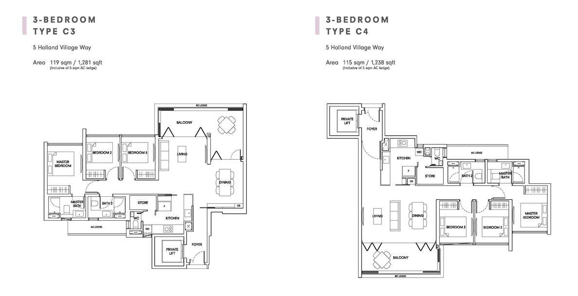 One Holland Village Residences - Quincy 3 Bedroom Layout