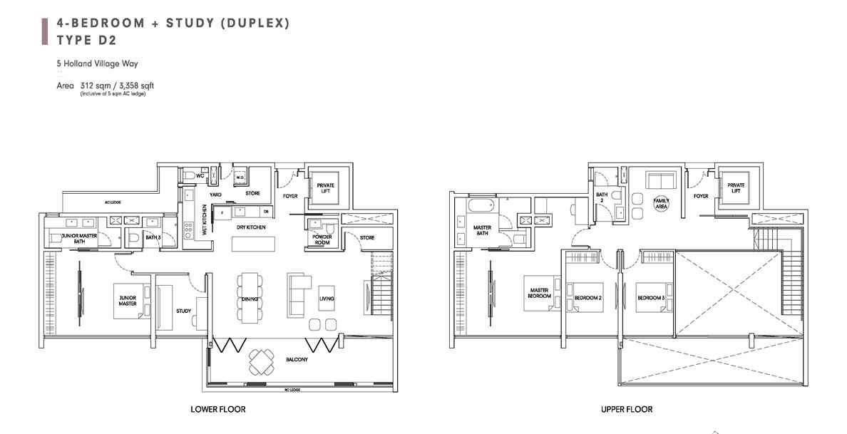 One Holland Village Residences - Quincy 4 Bedroom Duplex Layout