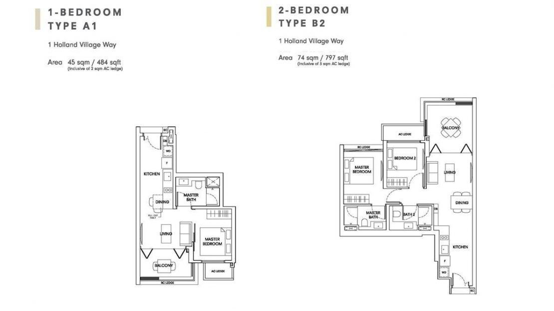 One Holland Village Residences - Sereen 1 & 2 Bedroom Layout