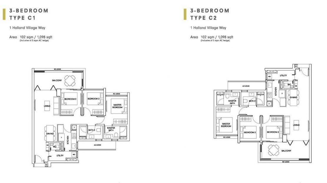 One Holland Village Residences - Sereen 3 Bedroom Layout