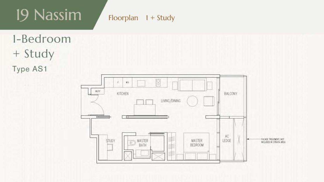 19 Nassim - 1BR + Study Floor Plan