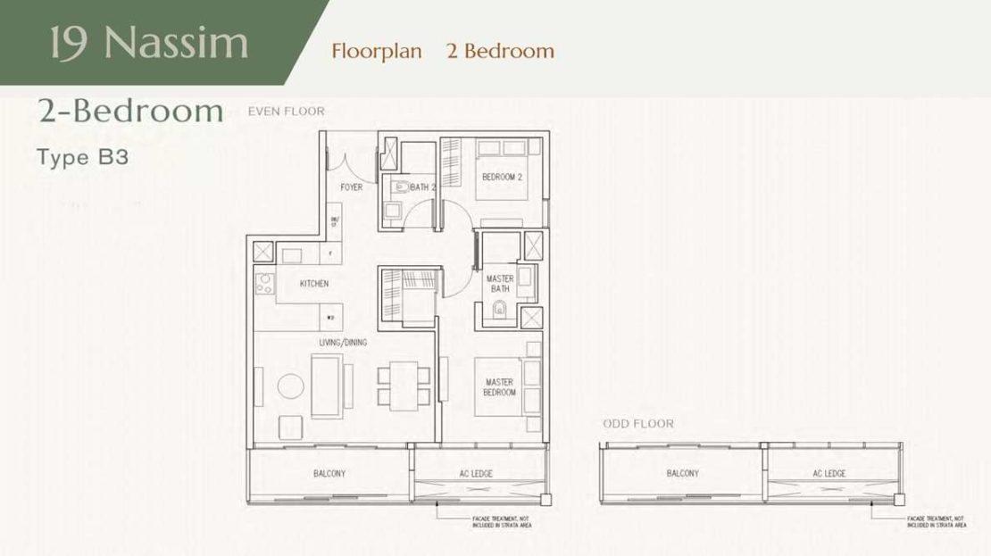 19 Nassim - 2 Bedroom Floor Plan