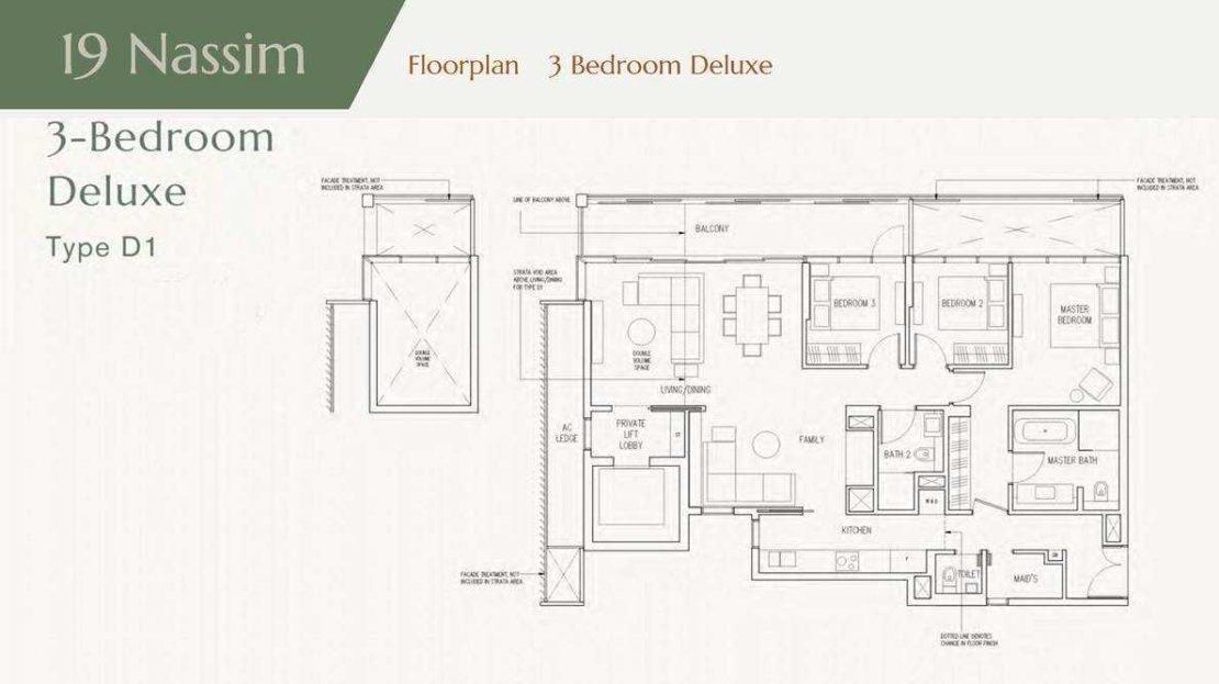 19 Nassim - 3Bedroom 1733sqft Floor Plan