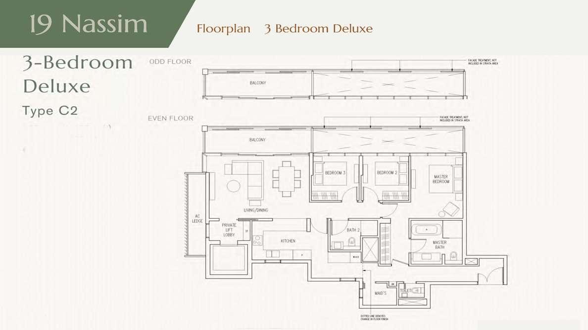 19 Nassim - 3Bedroom Floor Plan
