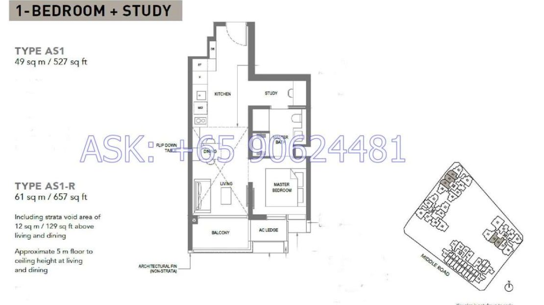 The M - 1+Study Floor Plan
