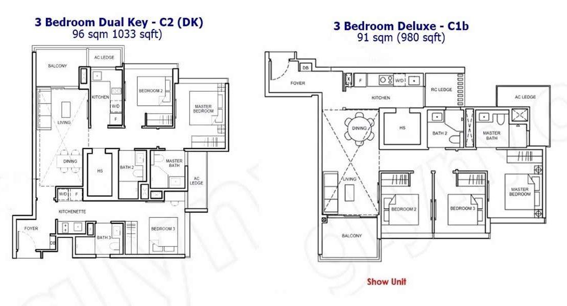 Forett - 3 BR DK & Deluxe Floor Plan