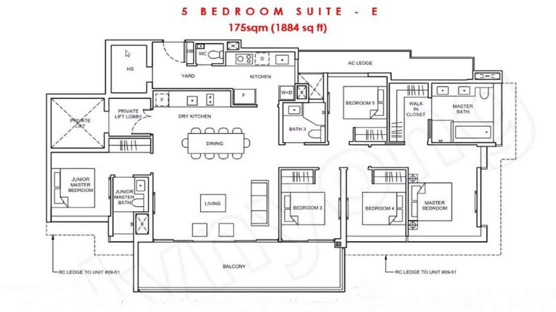 Forett - 5 BR Suite Floor Plan
