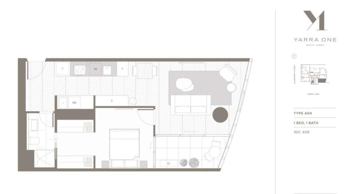 Yarra One - 1BR 1Bath Type A04 floor plan