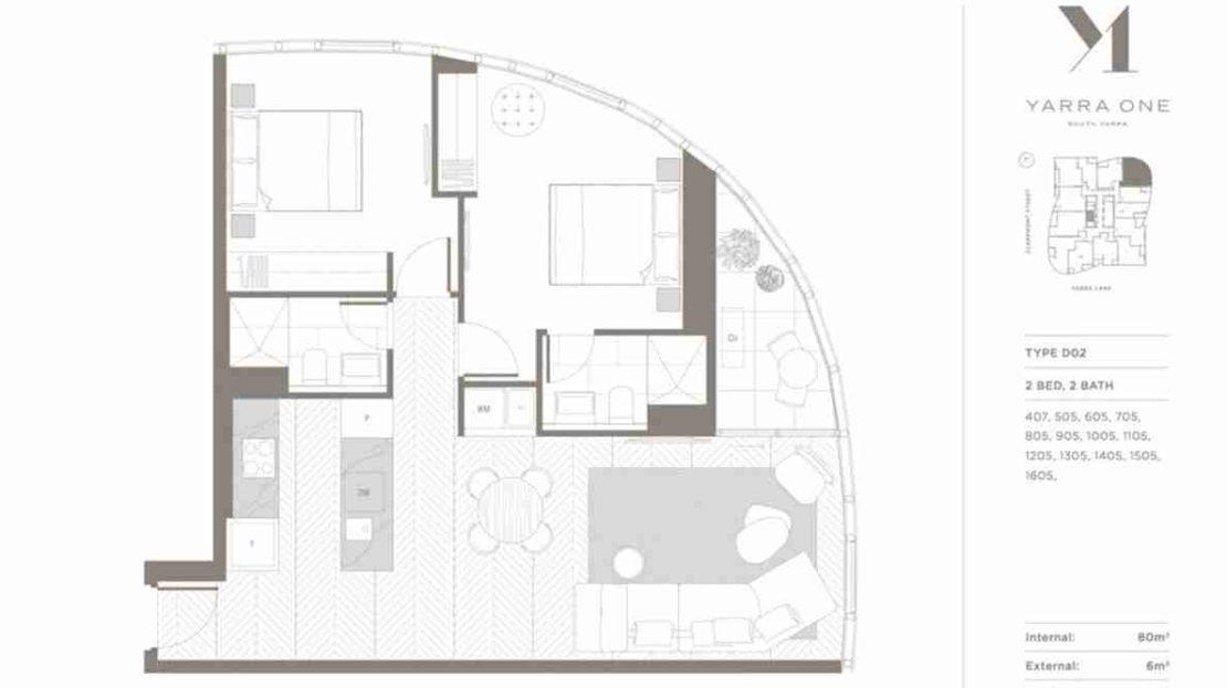 Yarra One - 2BR 2Bath Type D02 floor plan