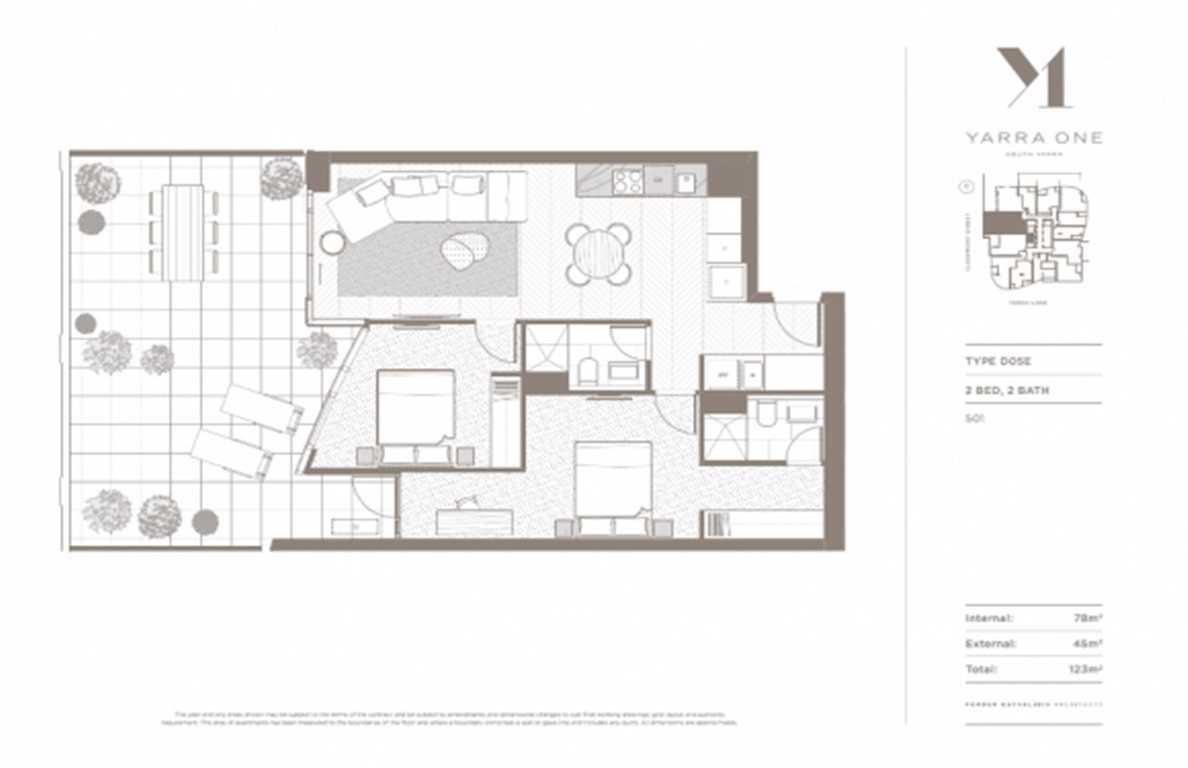 Yarra One - 2BR 2Bath floor plan