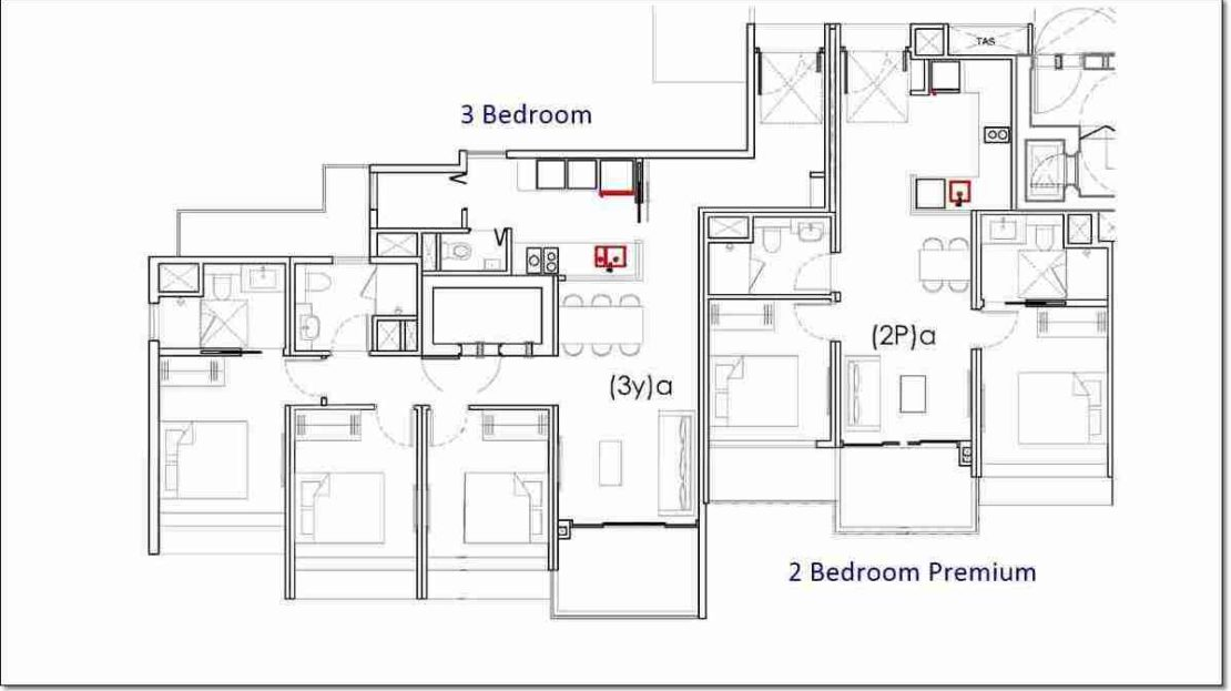Penrose Draft 2 BR Preium and 3 BR floor plan