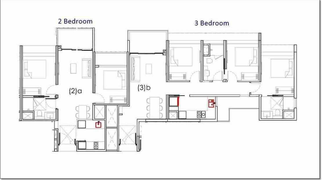 Penrose Draft 2 and 3 BR floor plan