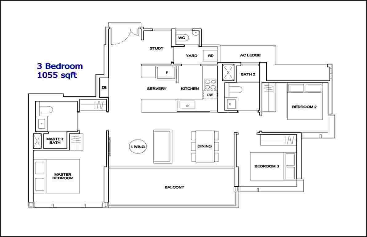 Hyll on Holland 3+S Showflat Floorplan