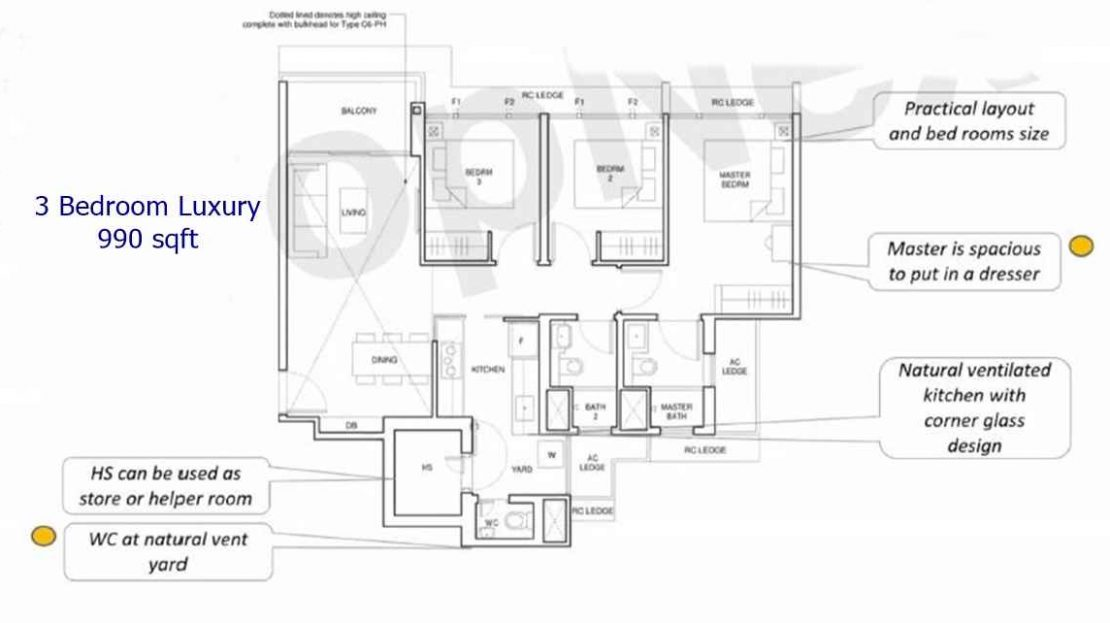 Parc Central Residences - 3 BR Luxury 990 sf