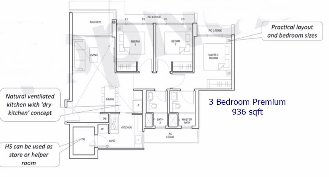 Parc Central Residences - 3 BR premium 936 sf