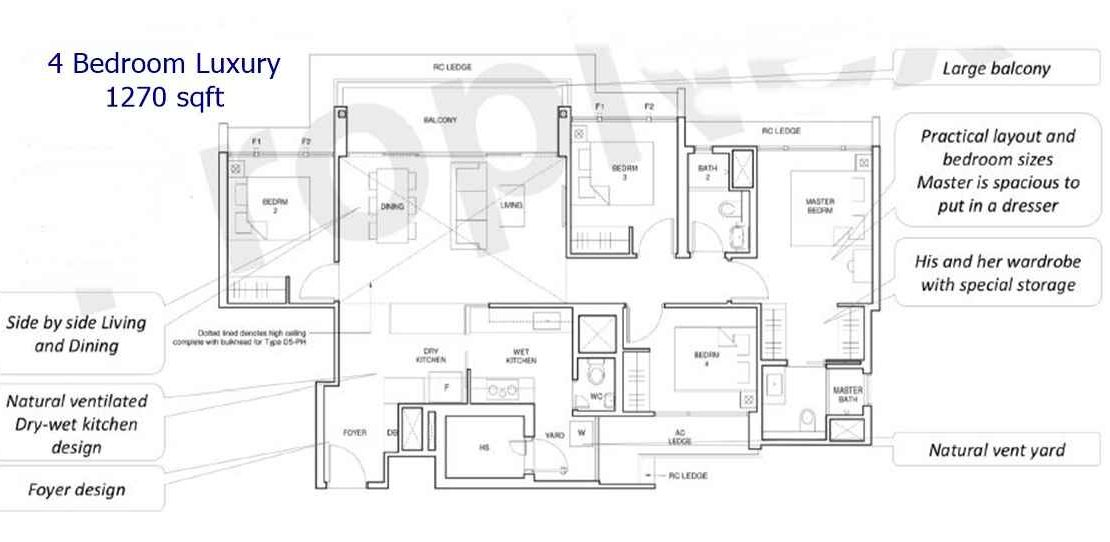 Parc Central Residences - 4 BR Luxury 1270 sf