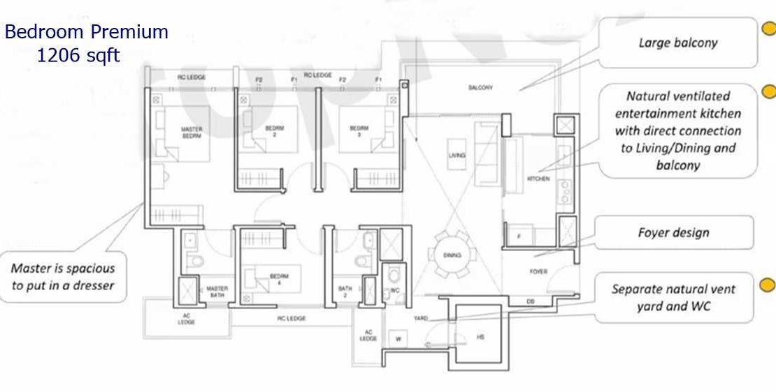 Parc Central Residences - 4 BR premium 1206 sf