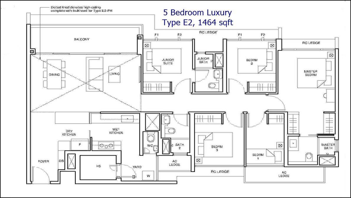 Parc Central Residences Floor Plans - 5 BR 1464 sf