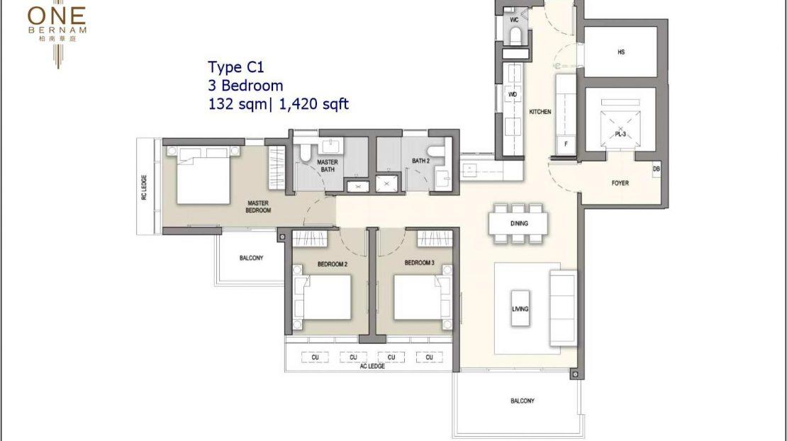 One Bernam - Typical 3 BR Floor Plan