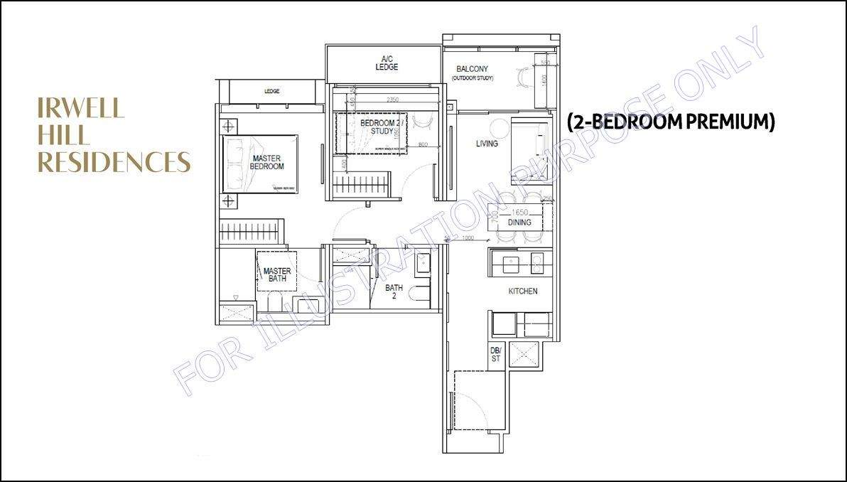 rwell Hill Residences - 2 BR Premium floorplan 1