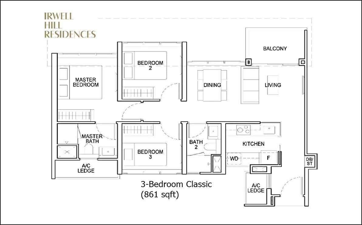 Irwell Hill Residences - 3 BR Classic floorplan