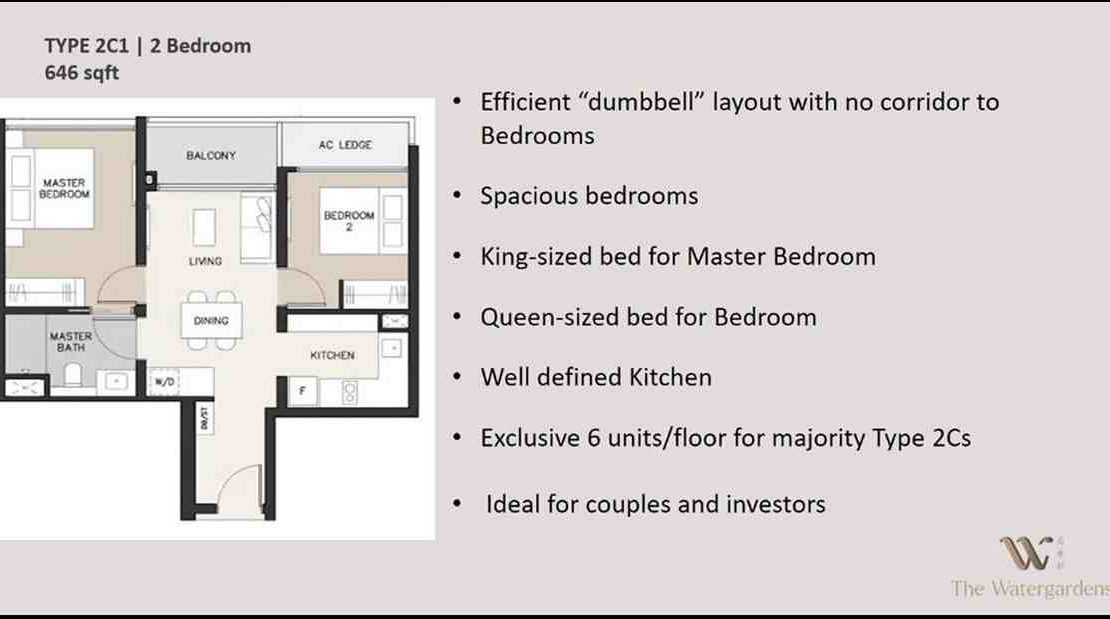 The Watergardens - 2 BR Layout