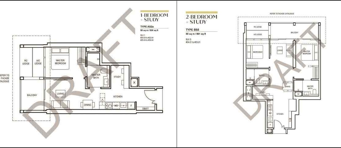 CanningHill Piers - 1 BR & 2 BR floor plan