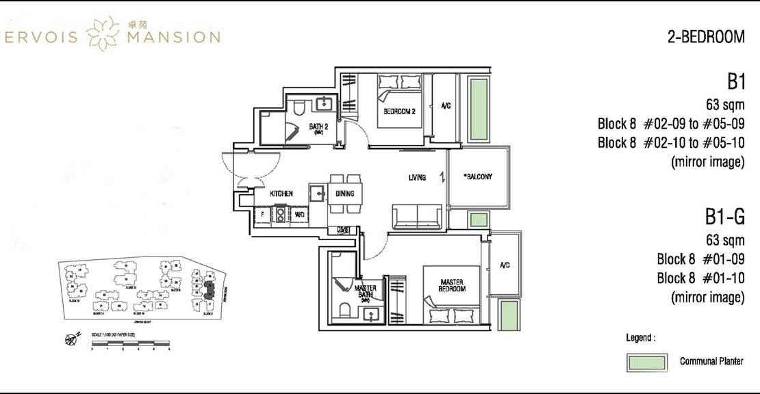 Jervois Mansion - Floorplans 2BR
